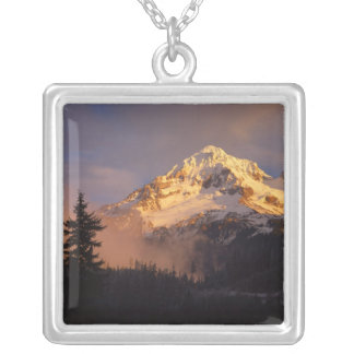 USA, Oregon, Mt. Hood National Forest. Rolling Square Pendant Necklace