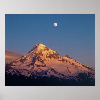 USA, Oregon, Mt Hood. Sunset creates alpenglow Poster