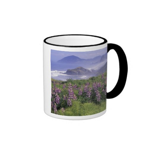 USA, Oregon, Nesika Beach. Lupine and Oregon Ringer Mug