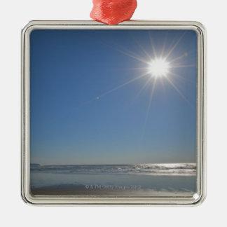 USA, Oregon, Pacific City, sun and beach Silver-Colored Square Decoration