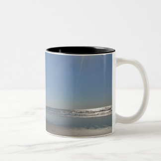 USA, Oregon, Pacific City, sun and beach Two-Tone Coffee Mug