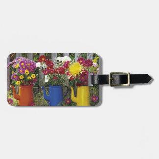 USA, Oregon, Portland. Antique enamelware Luggage Tag