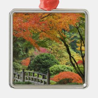 USA, Oregon, Portland. Wooden bridge and maple Silver-Colored Square Decoration