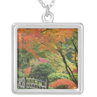 USA, Oregon, Portland. Wooden bridge and maple Silver Plated Necklace