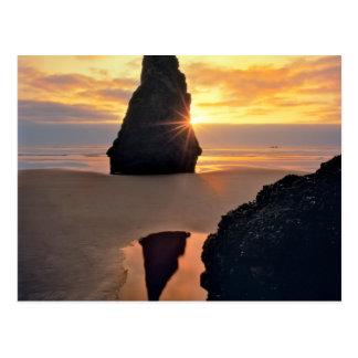 USA, Oregon. Rock Formation At Sunset Postcard