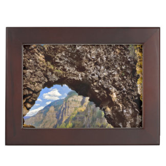 USA, Oregon. Rock Of Ages Arch In Columbia River Keepsake Box