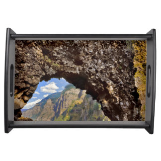 USA, Oregon. Rock Of Ages Arch In Columbia River Serving Tray