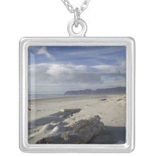 USA, Oregon, Sand Dunes and Ocean, Pacific City 2 Silver Plated Necklace