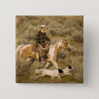 USA, Oregon, Seneca, Ponderosa Ranch. A cowboy 15 Cm Square Badge