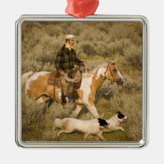 USA, Oregon, Seneca, Ponderosa Ranch. A cowboy Christmas Ornament