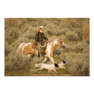 USA, Oregon, Seneca, Ponderosa Ranch. A cowboy Photo Print