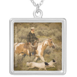 USA, Oregon, Seneca, Ponderosa Ranch. A cowboy Silver Plated Necklace