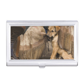 USA, Oregon, Seneca, Ponderosa Ranch. A puppy Business Card Holder