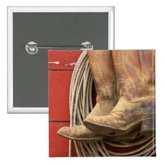 USA, Oregon, Seneca, Ponderosa Ranch. Close-up 15 Cm Square Badge