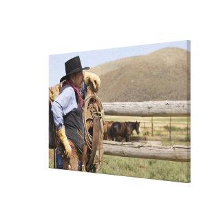 USA, Oregon, Seneca, Ponderosa Ranch. Cowboy 2 Canvas Print