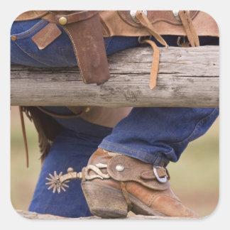 USA, Oregon, Seneca, Ponderosa Ranch. Cowboy Square Sticker