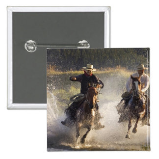 USA, Oregon, Seneca, Ponderosa Ranch. Two 15 Cm Square Badge