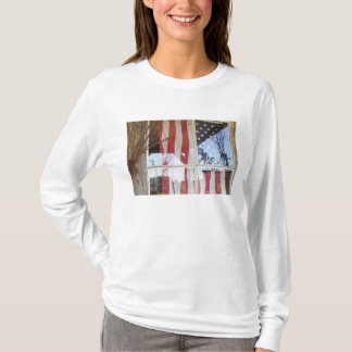 USA, Oregon, Shaniko. Flag in window next to T-Shirt