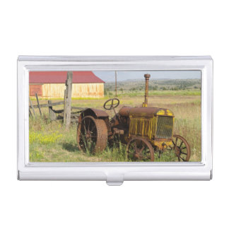 USA, Oregon, Shaniko. Rusty vintage tractor in Business Card Holder