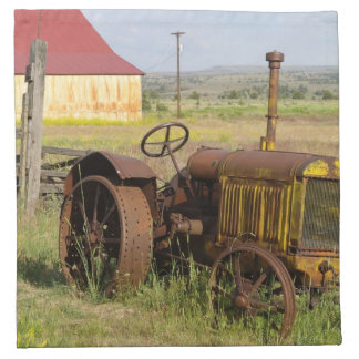 USA, Oregon, Shaniko. Rusty vintage tractor in Napkin