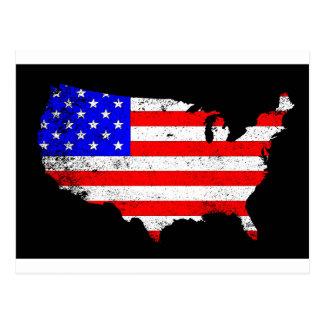 USA Outline and Flag Postcard