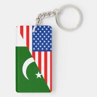 usa Pakistan country half flag america symbol Double-Sided Rectangular Acrylic Key Ring