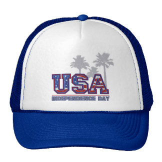 USA Palm Independence Day Trucker Hats
