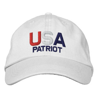 USA Patriot Red White Blue Embroidered White Hat Embroidered Hats