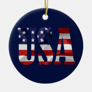 USA Patriotic Christmas Ornament