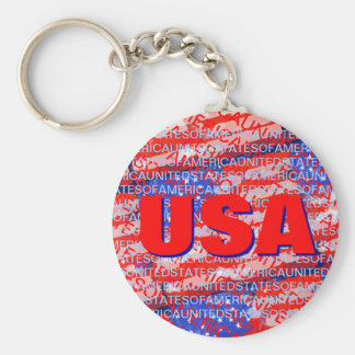 USA patriotic country flag Basic Round Button Key Ring