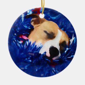USA Patriotic Dog American Pit Bull Terrier Christmas Ornament