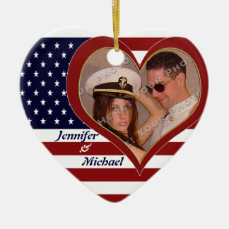 USA Patriotic Flag Heart Your Photo Ornamenent Christmas Ornament