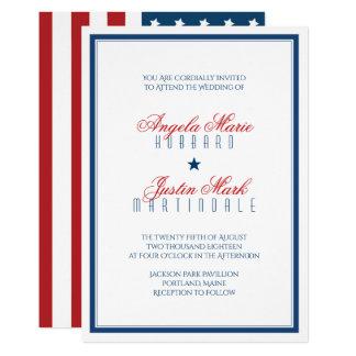 USA Patriotic Flag Wedding 13 Cm X 18 Cm Invitation Card