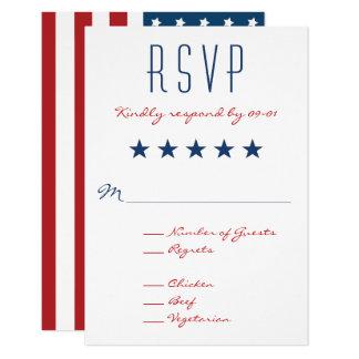 USA Patriotic Flag Wedding RSVP 2 9 Cm X 13 Cm Invitation Card