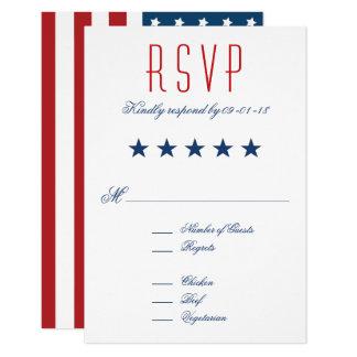 USA Patriotic Flag Wedding RSVP 9 Cm X 13 Cm Invitation Card