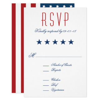 USA Patriotic Flag Wedding RSVP Card