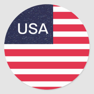 USA Patriotic Fourth of July Independence Day Round Sticker