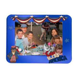 USA Patriotic Frame Custom Photo God Bless America Rectangular Photo Magnet