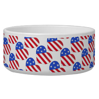 USA Patriotic Love Heart Red White Blue Flag Bowl Pet Food Bowls