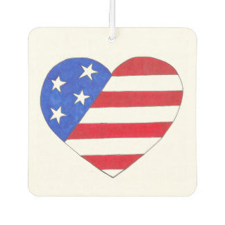 USA Patriotic Love Heart Red White Blue Flag Gift Car Air Freshener