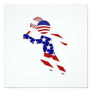 USA Patriotic Men's Tennis Player 13 Cm X 13 Cm Square Invitation Card