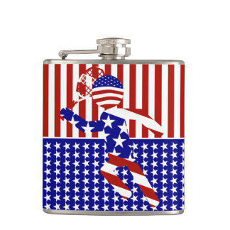 USA Patriotic Men's Tennis Player Flasks