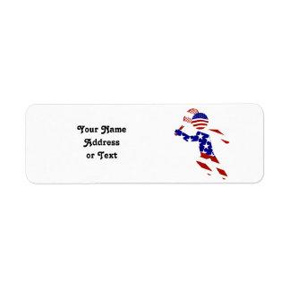 USA Patriotic Men's Tennis Player Return Address Label
