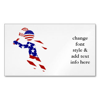USA Patriotic Men's Tennis Player Magnetic Business Cards