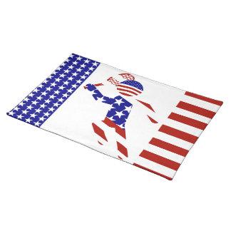 USA Patriotic Men's Tennis Player Place Mats