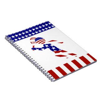 USA Patriotic Men's Tennis Player Spiral Note Books