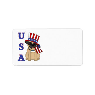 USA Patriotic Pug with Flag Address Label