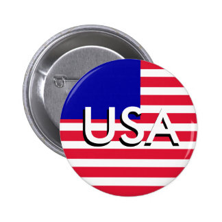 USA Patriotic Red White and Blue Button July 4th Button