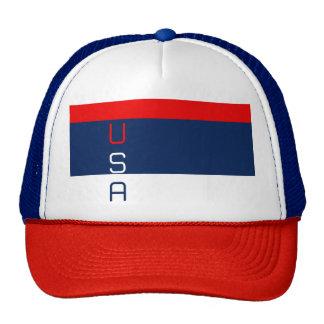 USA Patriotic Red White & Blue Striped Trucker Hat