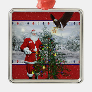USA Patriotic Santa Silver Framed Square Ornament